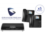 Grandstream UCM6204 IP PBX 4-Line Office System Package w/5 Phones