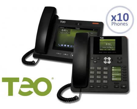 Teo 10 User Cloud UC Hosted Small Business Package w/9100 Series IP Phones