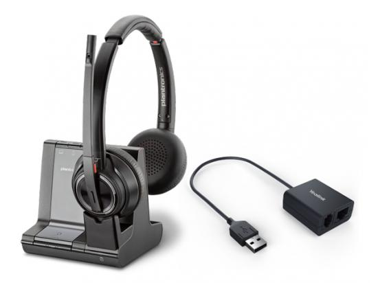 Plantronics Savi 8220 Office DECT Headset w/Yealink EHS40 USB Cable