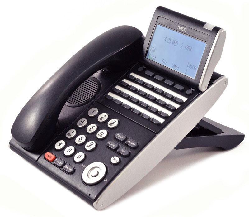 BK - 6 Button Display Digital Phone Certified Refurbished 680001 NEC DTL-6DE-1 - Black