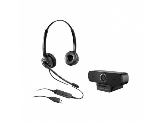Grandstream GUV3100 HD USB Webcam w/GUV3000 Headset Bundle