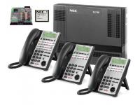 NEC SL1100  8x16 Phone System w/ Voice Mail & 6 Phones