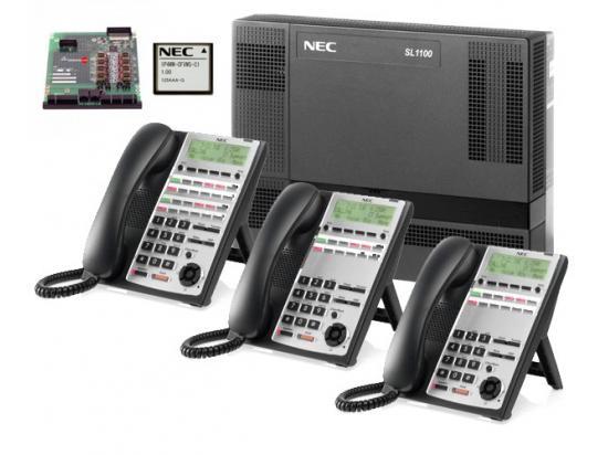 NEC SL1100  8x16 Phone System w/ Voice Mail & 6 Phones
