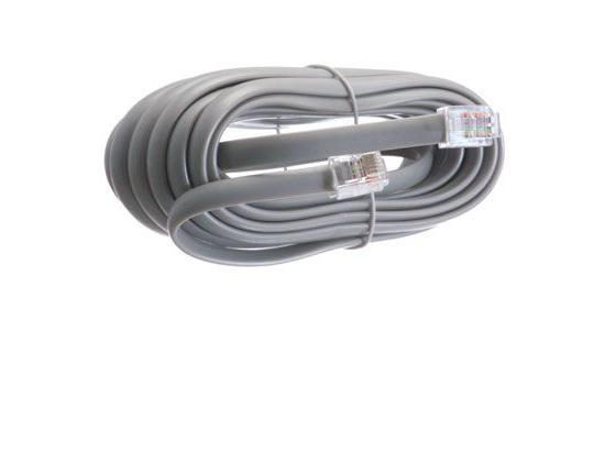 4 Pin Telephone Line Cord 14 Foot Silver